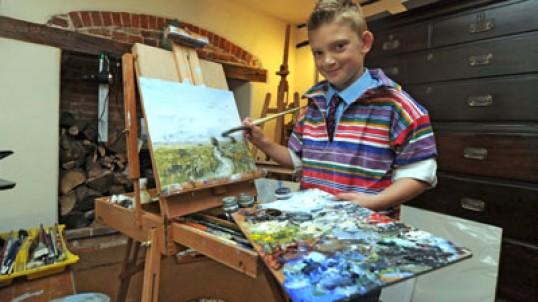 Con solo 9 años, es pintor y se hizo millonario