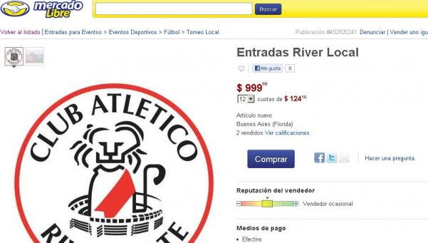River denunció a MercadoLibre por la reventa de entradas