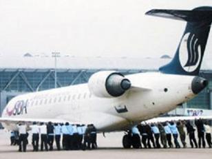 De locos!! Avión averiado tuvo que ser empujado por los propios pasajeros. Foto