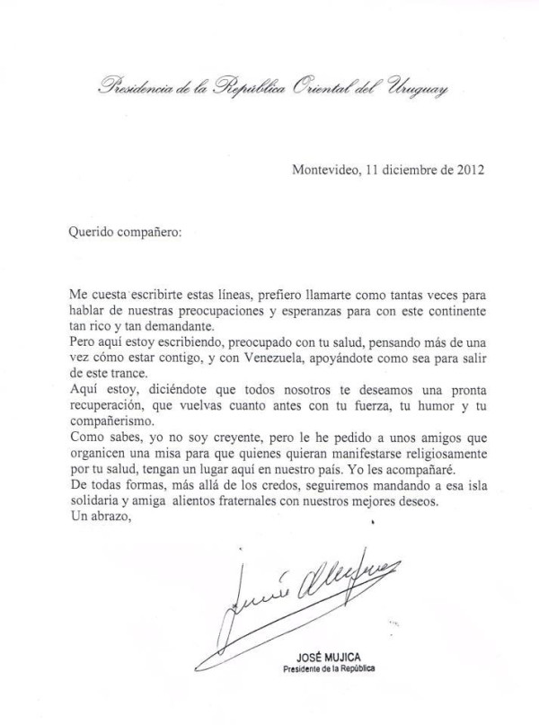 La carta de Mujica a Chavez