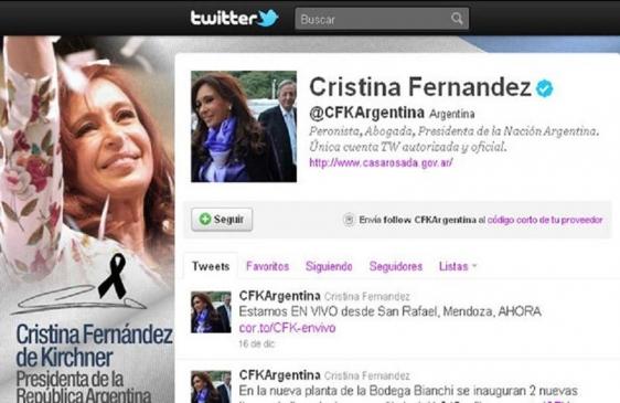 Cristina Kirchner entre los diez líderes más seguidos en Twitter