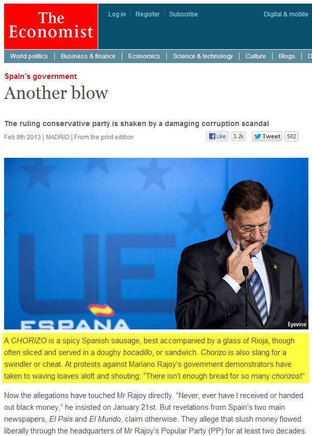 The Economist llama 'chorizo' a Mariano Rajoy?