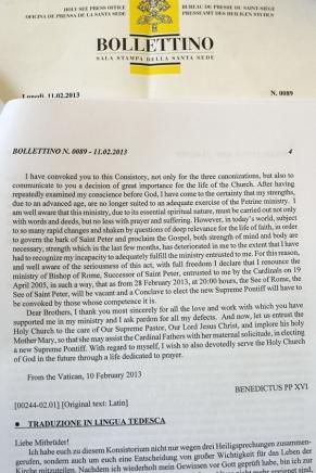 El Comunicado oficial de la renuncia del Papa