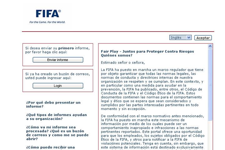 La Fifa abrió un sitio de mensajes en internet para denunciar partidos arreglados