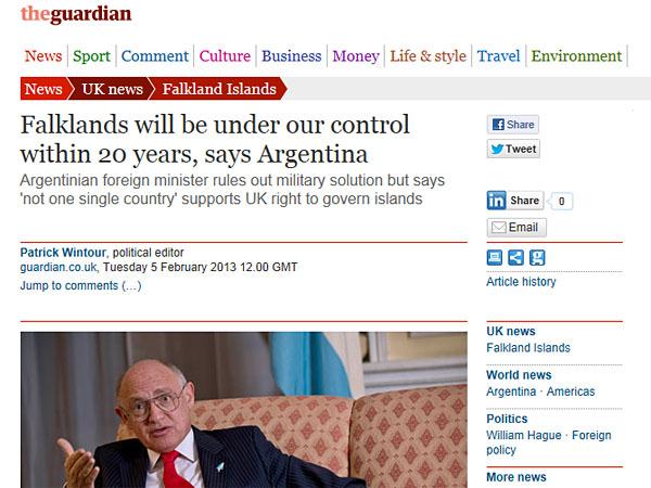 Según Timerman ,en 20 años las Malvinas serán argentinas