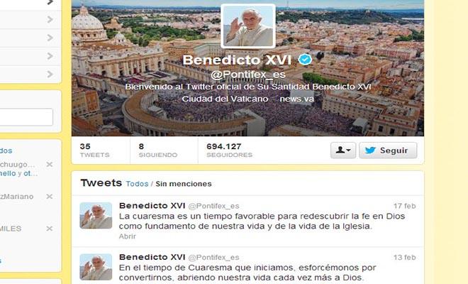Con 2 millones de seguidores suspenderán el Twitter del Papa cuando deje el pontificado