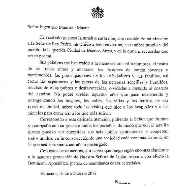 La carta del Papa a Macri