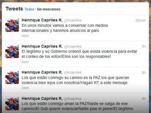 """Capriles : El gobierno venezolano """"ordenó"""" violencia para evitar recuento de votos"""