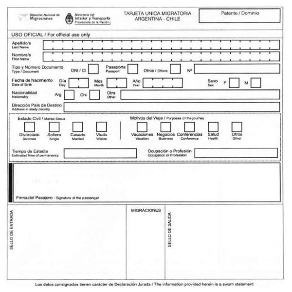 formulario para entrar o salir del pais