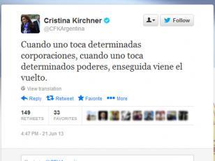 """Cristina : """"Cuando uno toca poderes, enseguida viene el vuelto"""""""