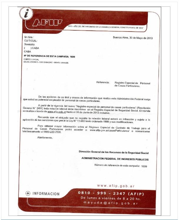 AFIP envía cartas masivas para contribuyentes que presume tienen servicio doméstico