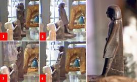 Estatua egipcia se mueve sola