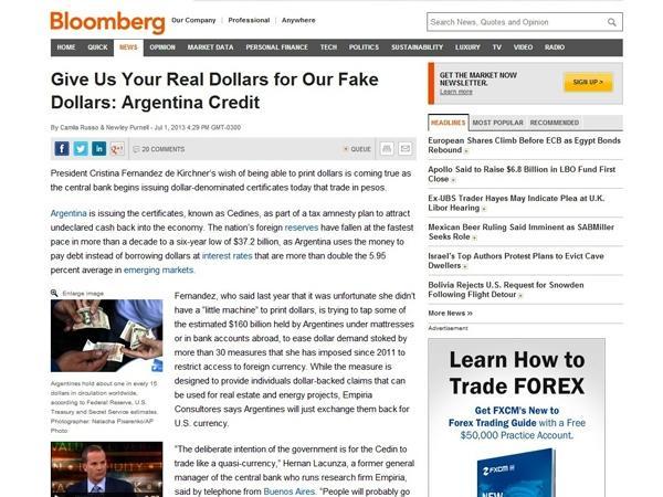 """EEUU califica a los Cedin como """"dólares falsos"""""""