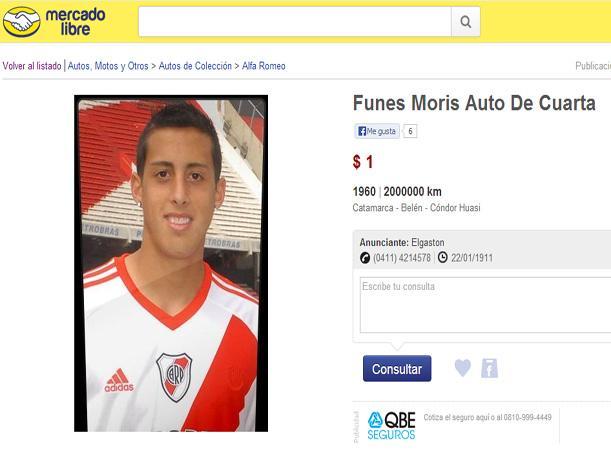 Jugador de River Plate,Rogelio Funes Mori es vendido por Internet