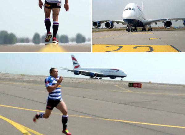 Video: Una insólita carrera entre un hombre y un avión