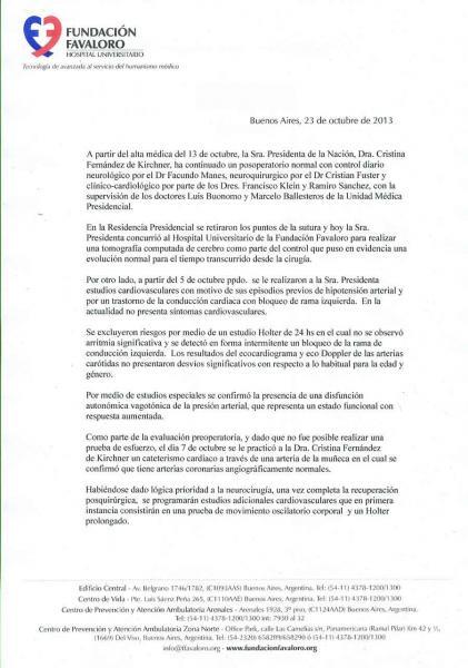 Parte medico oficial del estado de salud de Cristina Kirchner