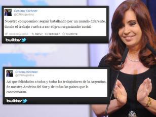 Cristina Kirchner saludó por Twitter a los trabajadores