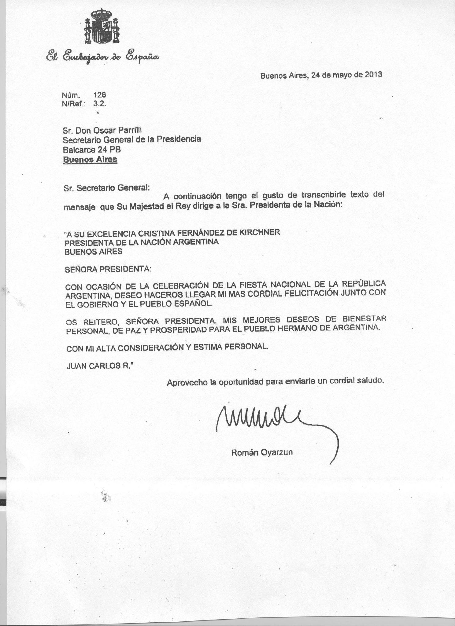 El Rey de España felicitó a la Presidenta por el aniversario de la Revolución de Mayo