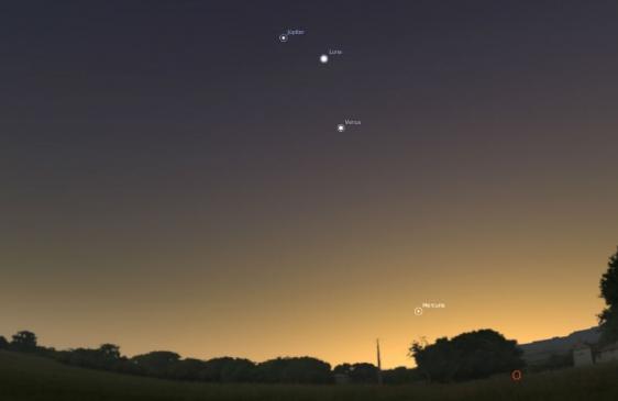 Hoy se podrá ver a Mercurio, Venus y Júpiter