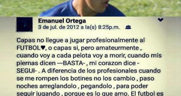 El conmovedor mensaje en Facebook de Emanuel Ortega