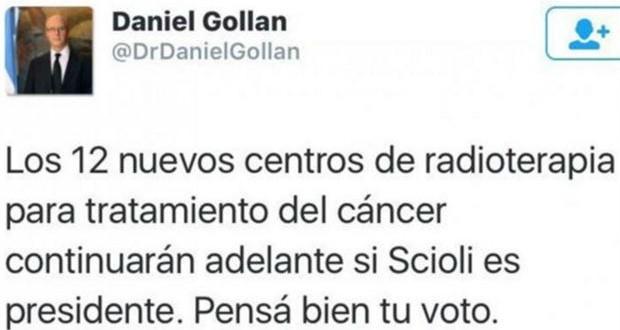 Gollan negó haber publicado a una advertencia a pacientes oncológicos ante un eventual gobierno de Macri