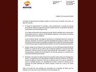 Repsol aprobó el preacuerdo por la nacionalización de YPF