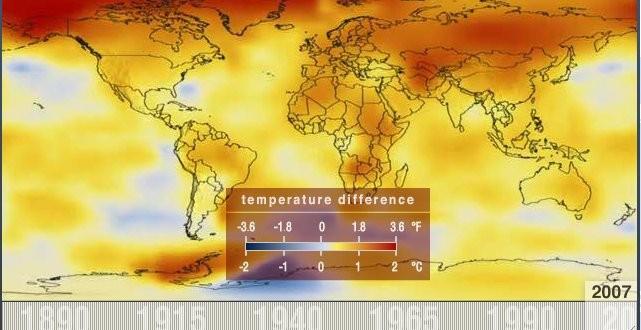 La Nasa publica un video en el que se ve cómo en los últimos 60 años aumentó la temperatura del planeta