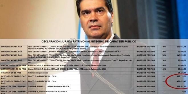 Capitanich tiene ahorrados más de 2 millones y medio de pesos, pero dice que el ahorro promueve la avaricia
