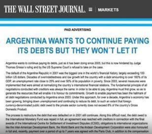 La solicitada del gobierno Argentino en el Wall Street Journal