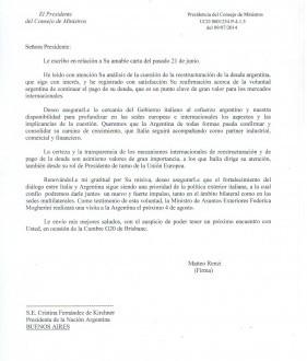 Carta del Primer Ministro de Italia a la presidenta Cristina Fernández de Kirchner