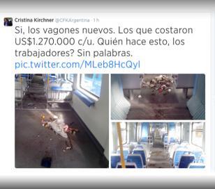 Cristina en Twitter, sobre los destrozos en el tren Sarmiento
