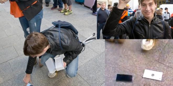 Video: Fue primer comprador del iPhone 6 en Australia y se le cae al piso el teléfono en vivo por TV