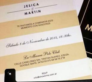 La tarjeta de casamiento de Jésica Cirio y Martín Insaurralde