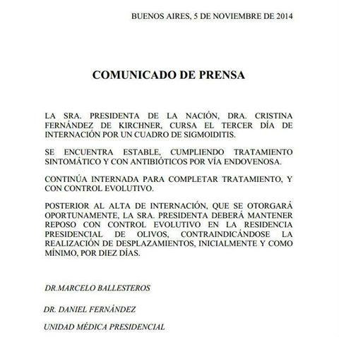 Nuevo parte médico de Cristina Kirchner