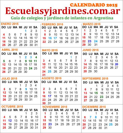 ¿Cuales son los feriados del 2015?