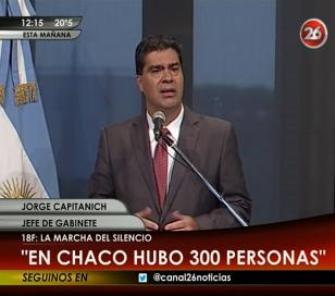 """Capitanich sobre el 18-F: """"En Chaco hubo 300 personas"""""""