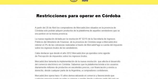 Los cordobeses no podran comprar en MercadoLibre fuera de su provincia
