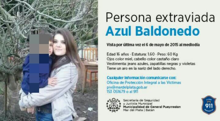 Buscan deseperadamente a Azul Baldonedo en Mar del Plata