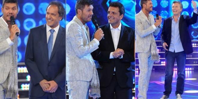 Scioli, Macri y Massa con Tinelli