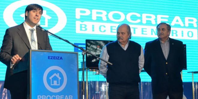 Bossio asistió al sorteo de 346 viviendas de ProCreAr