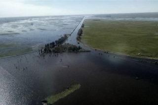 El caudal del Río Salado llegó a su pico máximo en Lezama