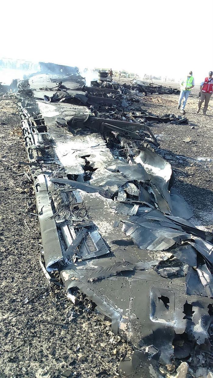 Así quedó el avión ruso que se accidentó en Egipto