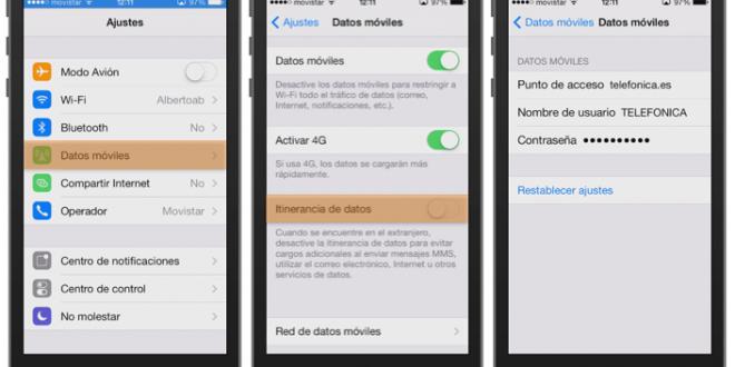 Configurar los datos moviles de iPhone 6 para Claro , personal o Movistar