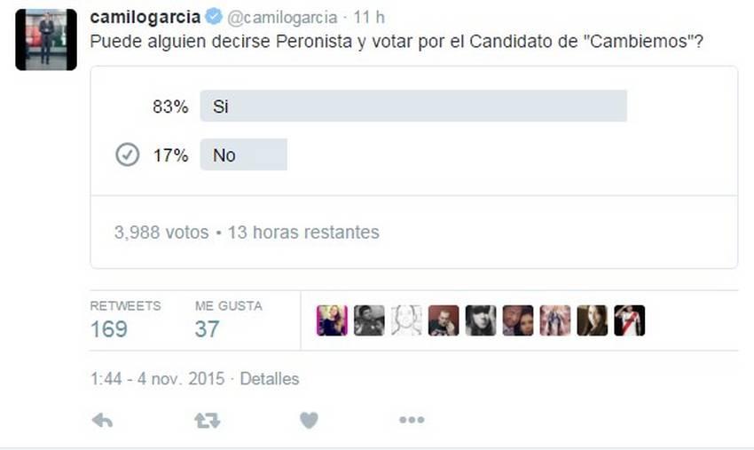 A Camilo García también le salió mal una encuesta en Twitter