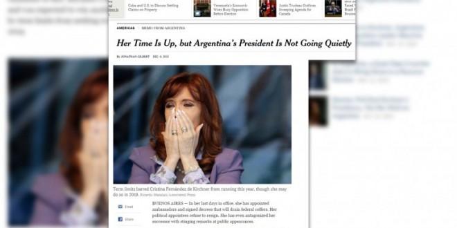 "The New York Times : ""La Presidenta argentina no se va tranquila"""
