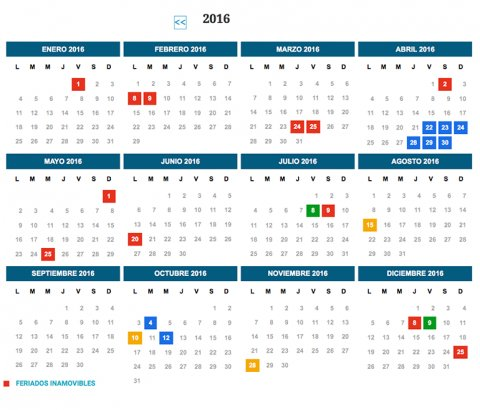 Los feriados del 2016