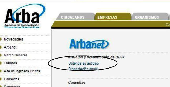 ARBA eliminó el sistema de anticipos mensuales de Ingresos Brutos (ARBANET)