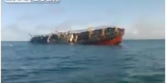 Video: El momento en el que se hunde el barco Chino que pescaba en aguas Argentinas