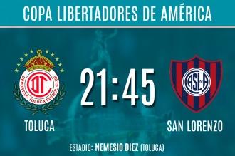 San Lorenzo arriesga en la altura de Toluca su futuro en la Copa Libertadores