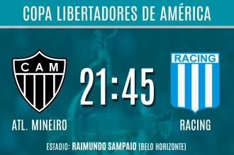 Racing visita a Atlético Mineiro en su partido más importante del semestre